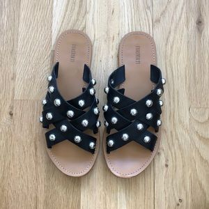 Forever 21 Black Leather Silver Studded Sandals